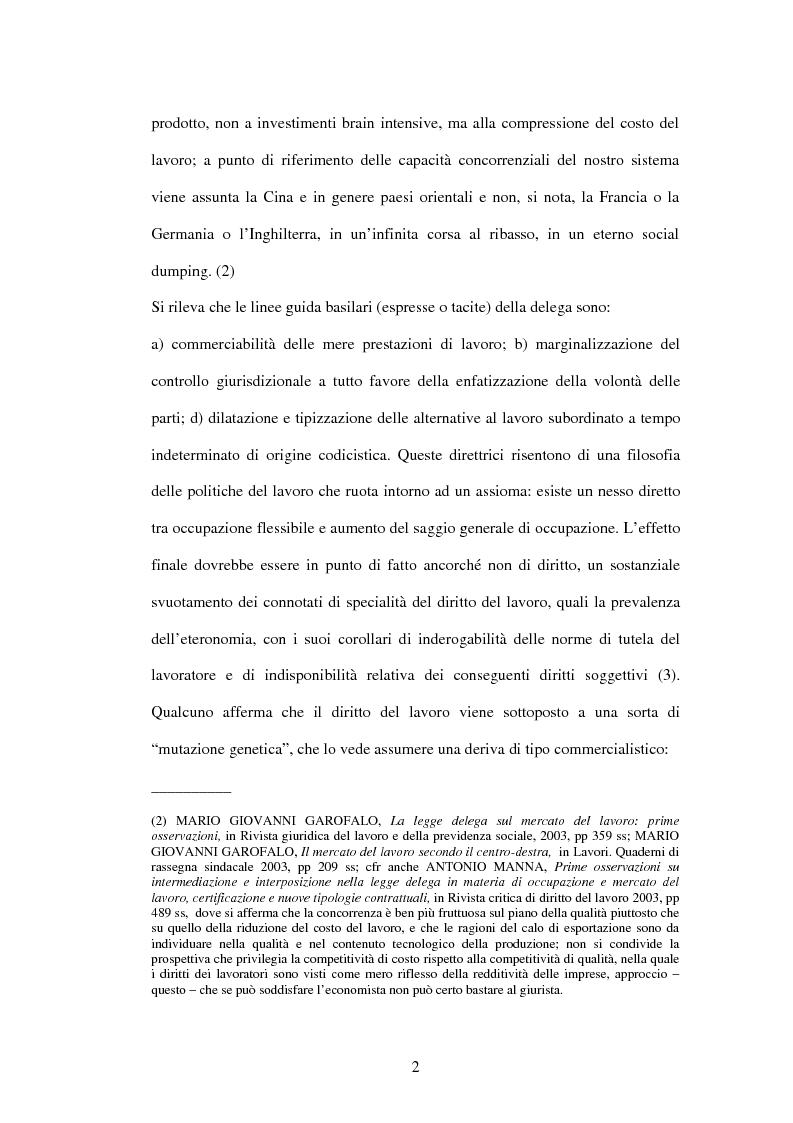 Anteprima della tesi: Mercato del lavoro e tutela del prestatore, Pagina 4