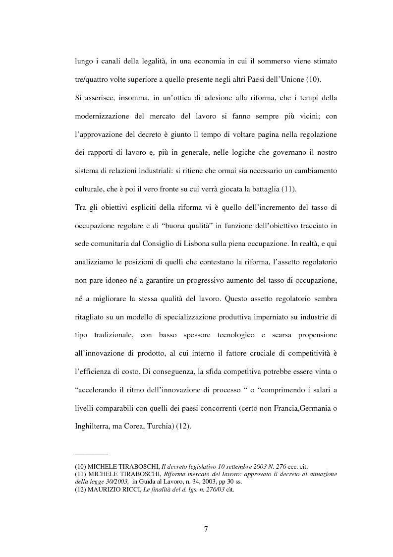 Anteprima della tesi: Mercato del lavoro e tutela del prestatore, Pagina 9