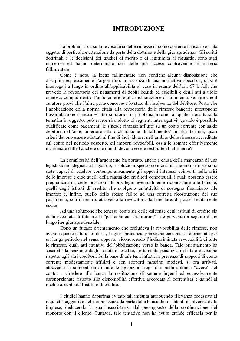 Anteprima della tesi: Il curatore fallimentare e la revocatoria delle rimesse in conto corrente, Pagina 1
