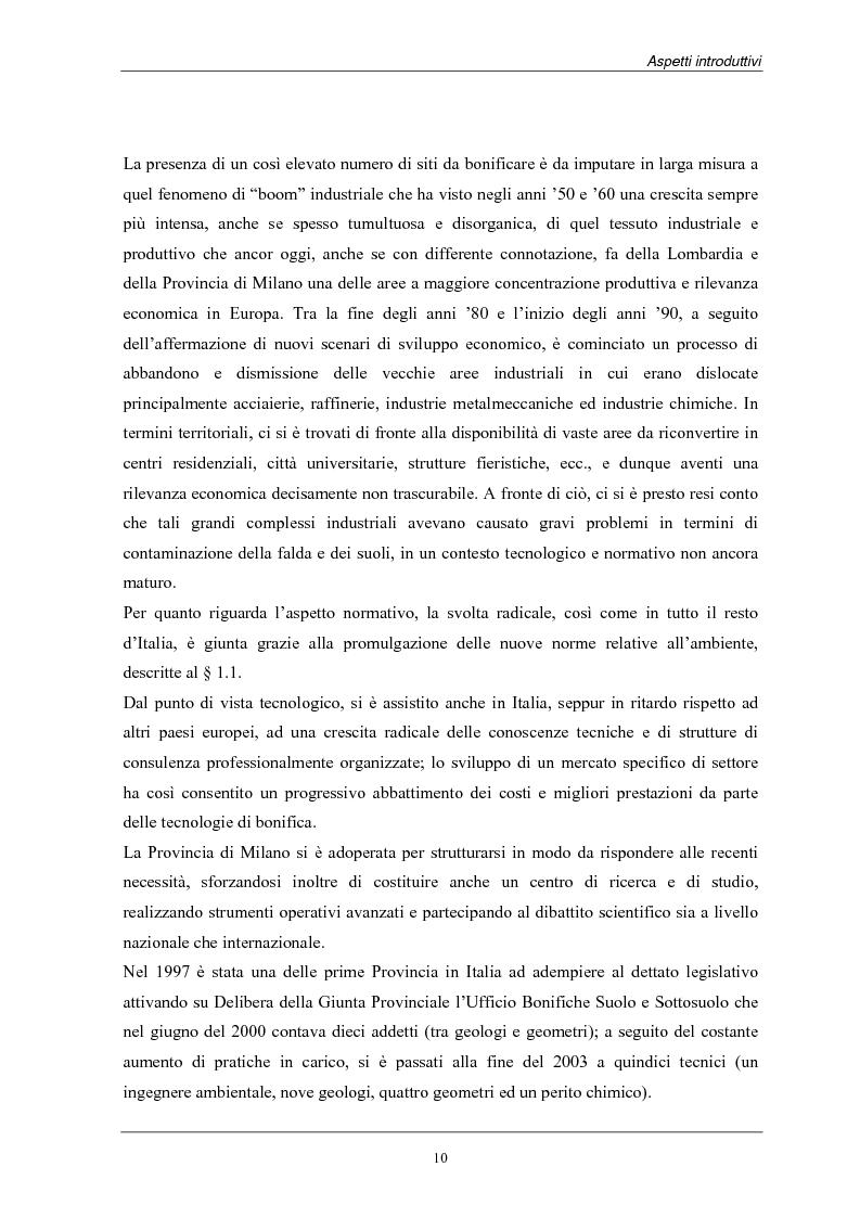 Anteprima della tesi: Analisi dei costi di bonifica dei suoli. Studio sui casi della Provincia di Milano, Pagina 10
