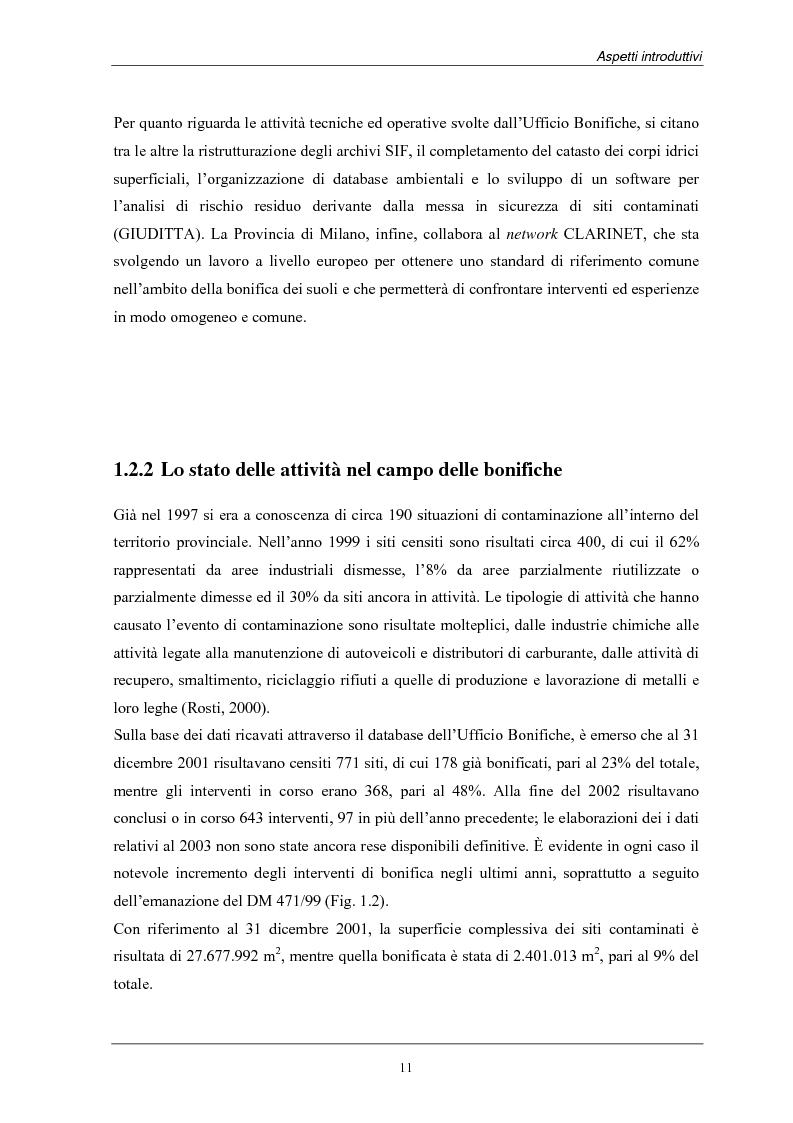 Anteprima della tesi: Analisi dei costi di bonifica dei suoli. Studio sui casi della Provincia di Milano, Pagina 11