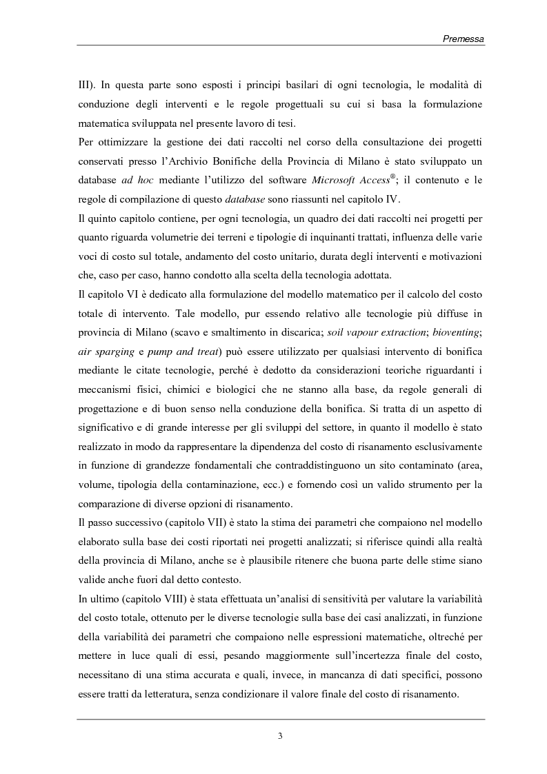 Anteprima della tesi: Analisi dei costi di bonifica dei suoli. Studio sui casi della Provincia di Milano, Pagina 3