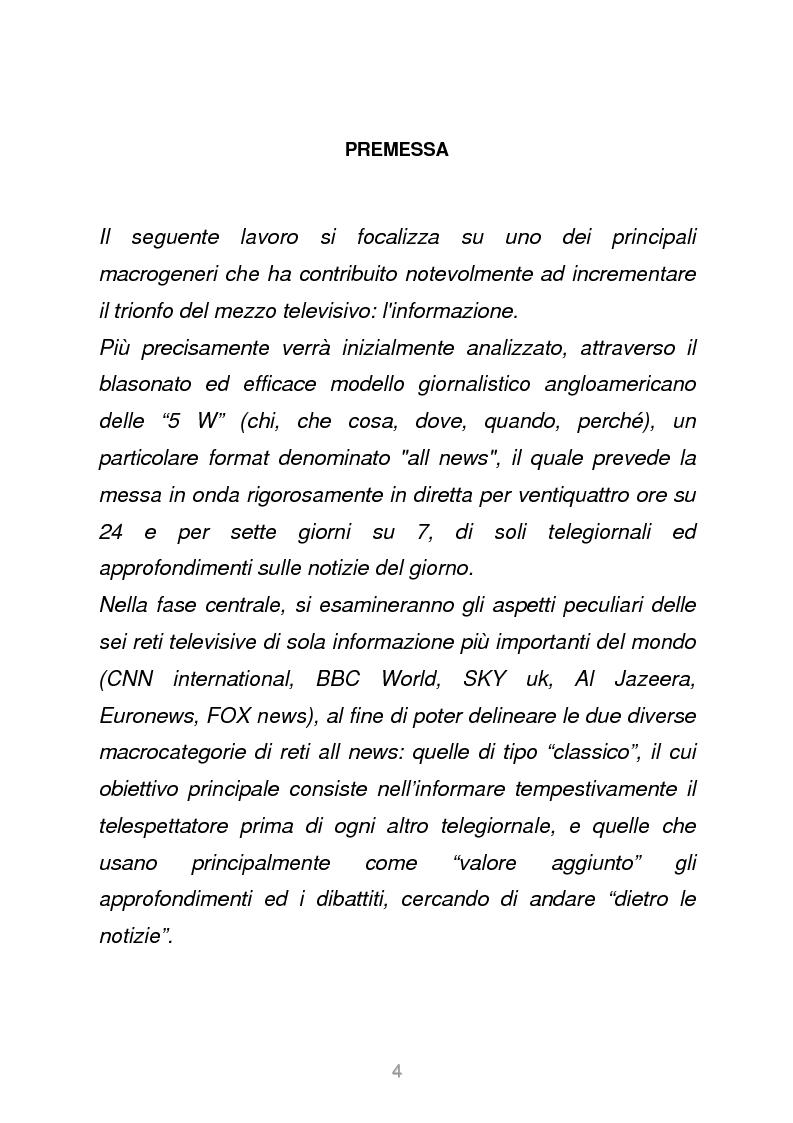Anteprima della tesi: Le reti televisive all news - un nuovo modello per l'informazione italiana. Il caso Sky TG24, Pagina 1