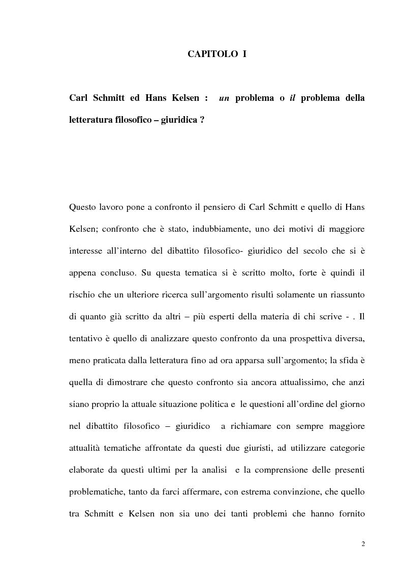 Anteprima della tesi: Schmitt e Kelsen: un problema della letteratura filosofico giuridica, Pagina 1