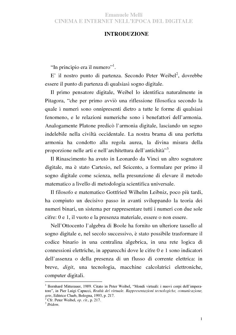 Anteprima della tesi: Cinema e Internet nell'epoca del digitale, Pagina 1