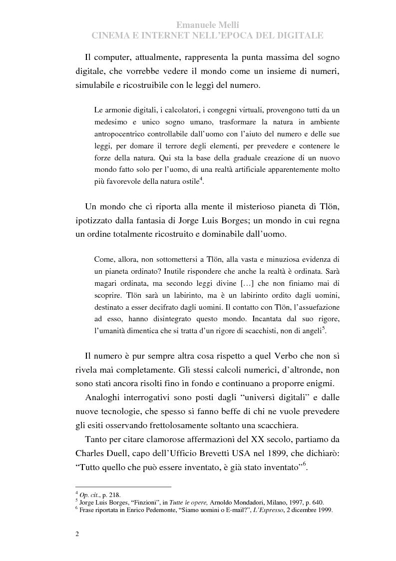 Anteprima della tesi: Cinema e Internet nell'epoca del digitale, Pagina 2