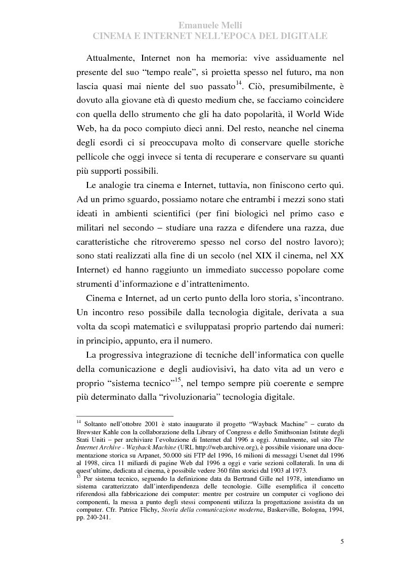 Anteprima della tesi: Cinema e Internet nell'epoca del digitale, Pagina 5