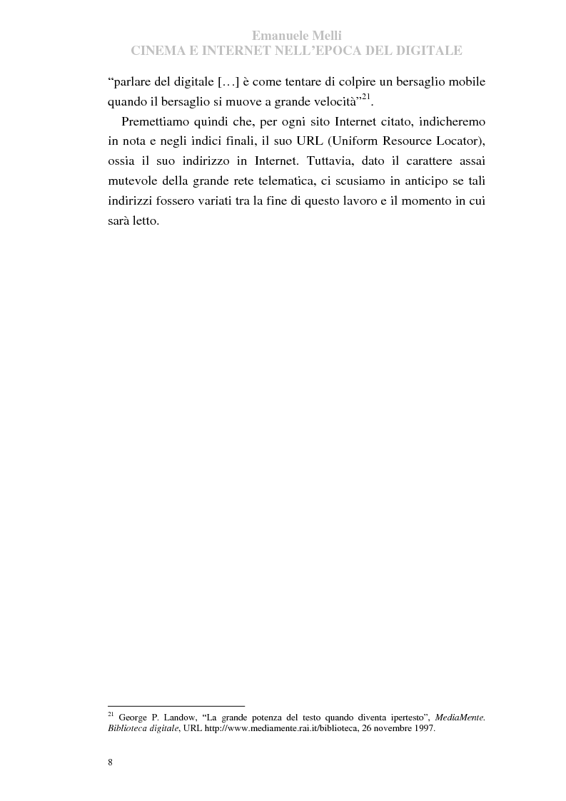 Anteprima della tesi: Cinema e Internet nell'epoca del digitale, Pagina 8