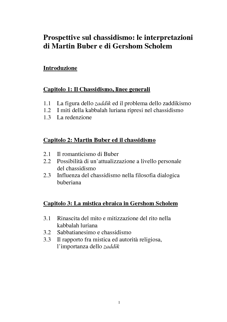 Indice della tesi: Prospettive sul chassidismo: le interpretazioni di Martin Buber e di Gershom Scholem, Pagina 1