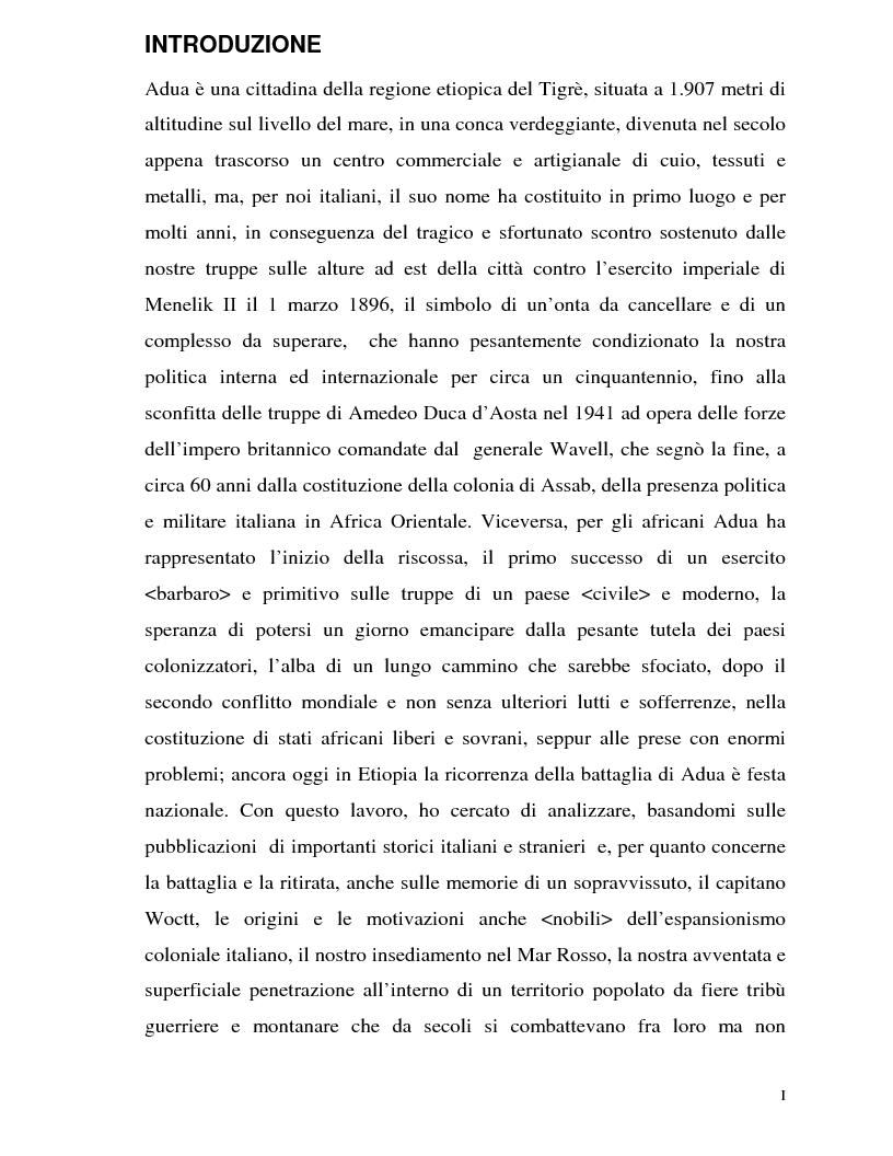 Anteprima della tesi: La Battaglia di Adua ed i riflessi internazionali, Pagina 1