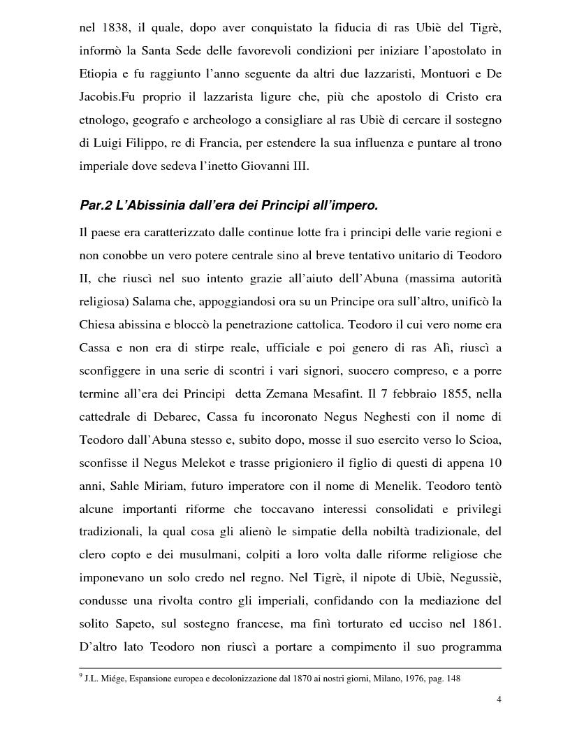 Anteprima della tesi: La Battaglia di Adua ed i riflessi internazionali, Pagina 6