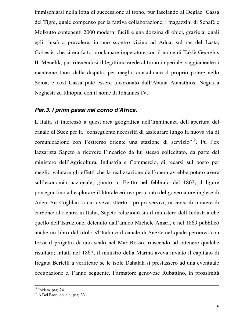Anteprima della tesi: La Battaglia di Adua ed i riflessi internazionali, Pagina 8