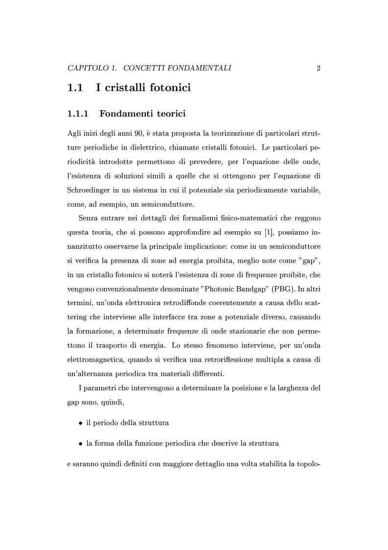 Anteprima della tesi: Approccio circuitale al dimensionamento di cavità Fabry-Perot in cristalli fotonici, Pagina 5