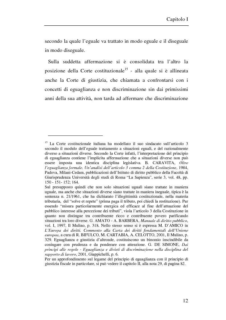 Anteprima della tesi: Il principio di non discriminazione nel diritto tributario secondo la giurisprudenza della Corte di giustizia C.E.E., Pagina 15
