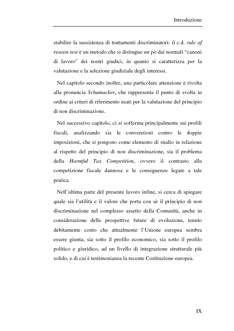 Anteprima della tesi: Il principio di non discriminazione nel diritto tributario secondo la giurisprudenza della Corte di giustizia C.E.E., Pagina 3