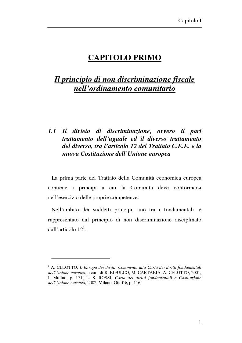Anteprima della tesi: Il principio di non discriminazione nel diritto tributario secondo la giurisprudenza della Corte di giustizia C.E.E., Pagina 4