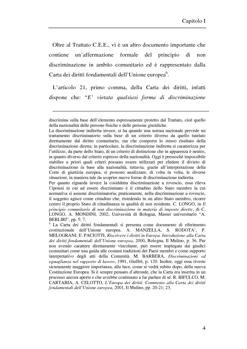 Anteprima della tesi: Il principio di non discriminazione nel diritto tributario secondo la giurisprudenza della Corte di giustizia C.E.E., Pagina 7