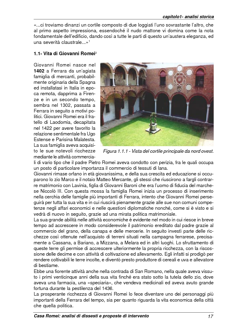 Anteprima della tesi: Casa Romei: analisi di dissesti e proposte di intervento, Pagina 6