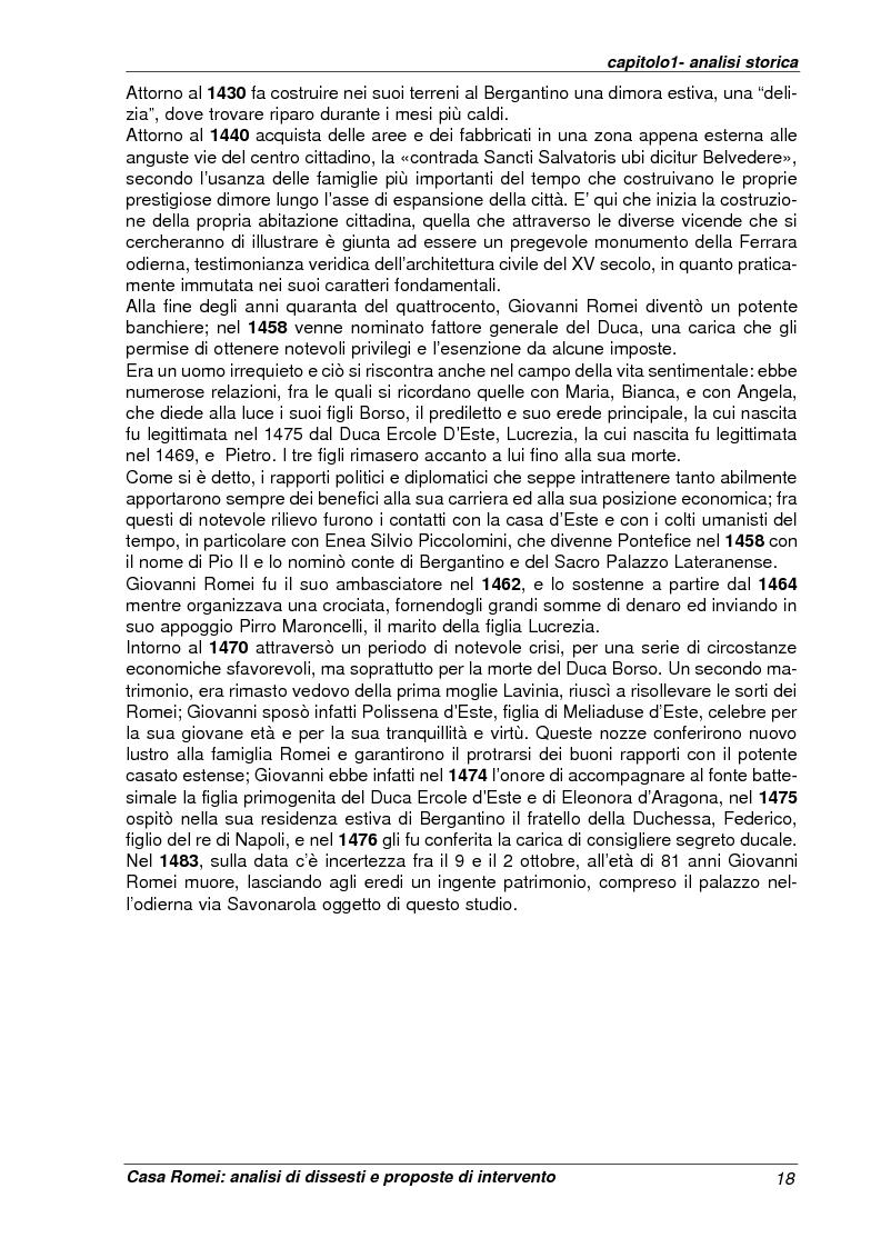 Anteprima della tesi: Casa Romei: analisi di dissesti e proposte di intervento, Pagina 7