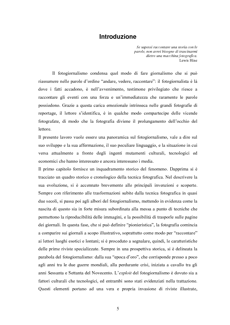 Anteprima della tesi: La foto come notizia - Storia, successo, crisi e limiti del fotogiornalismo, Pagina 1