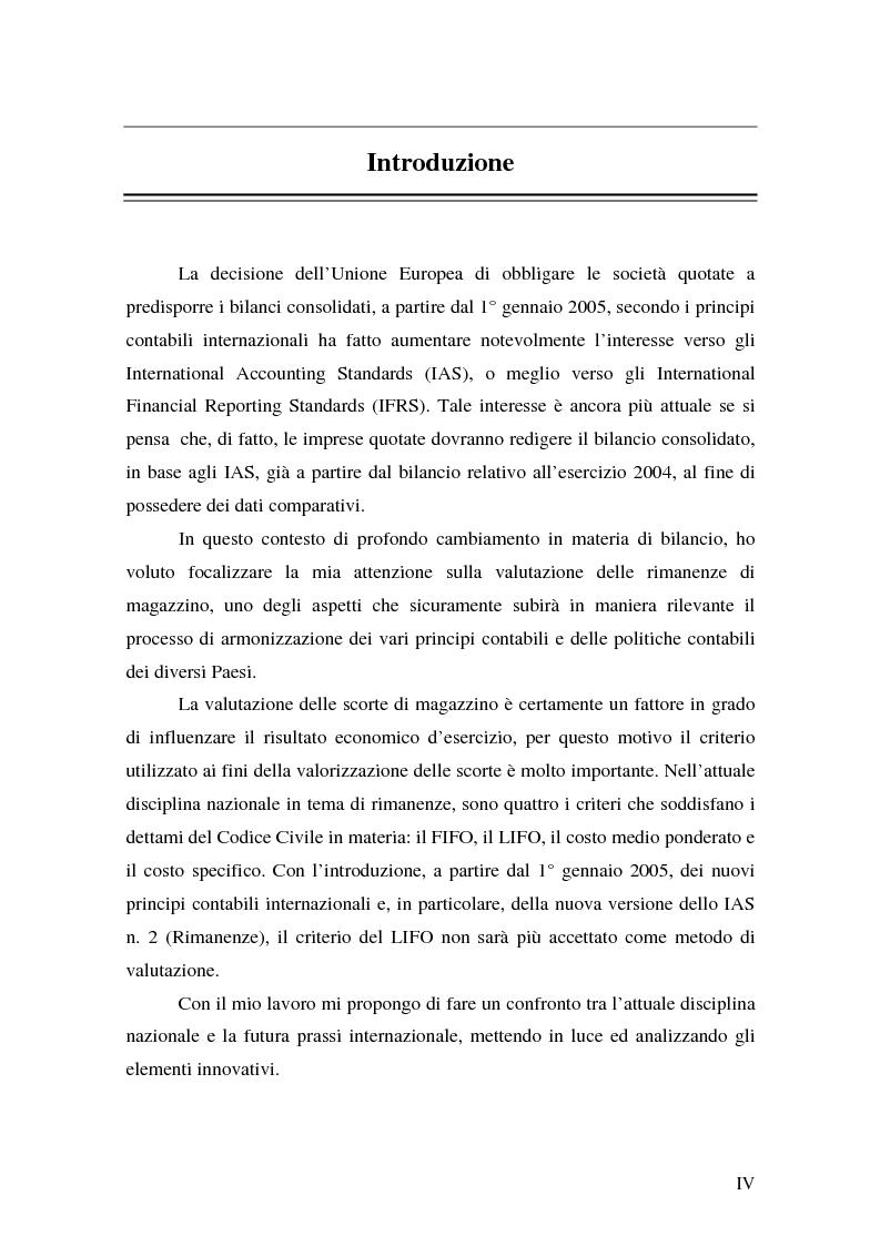 Anteprima della tesi: La valutazione delle rimanenze: principi contabili nazionali e internazionali, Pagina 1