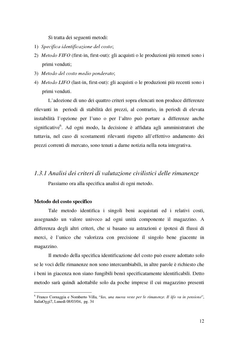 Anteprima della tesi: La valutazione delle rimanenze: principi contabili nazionali e internazionali, Pagina 15