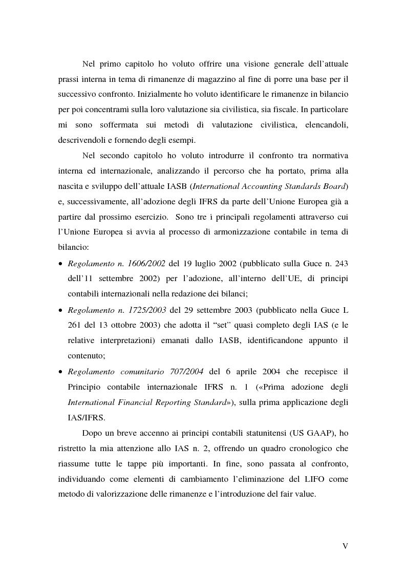 Anteprima della tesi: La valutazione delle rimanenze: principi contabili nazionali e internazionali, Pagina 2