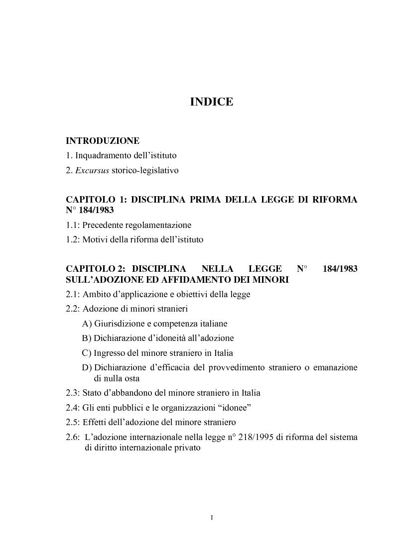 Indice della tesi: L'adozione internazionale, Pagina 1