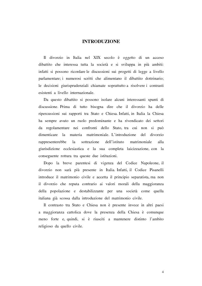 Anteprima della tesi: Il divorzio in Italia. I giuristi, la società e il dibattito politico nel XIX secolo, Pagina 1