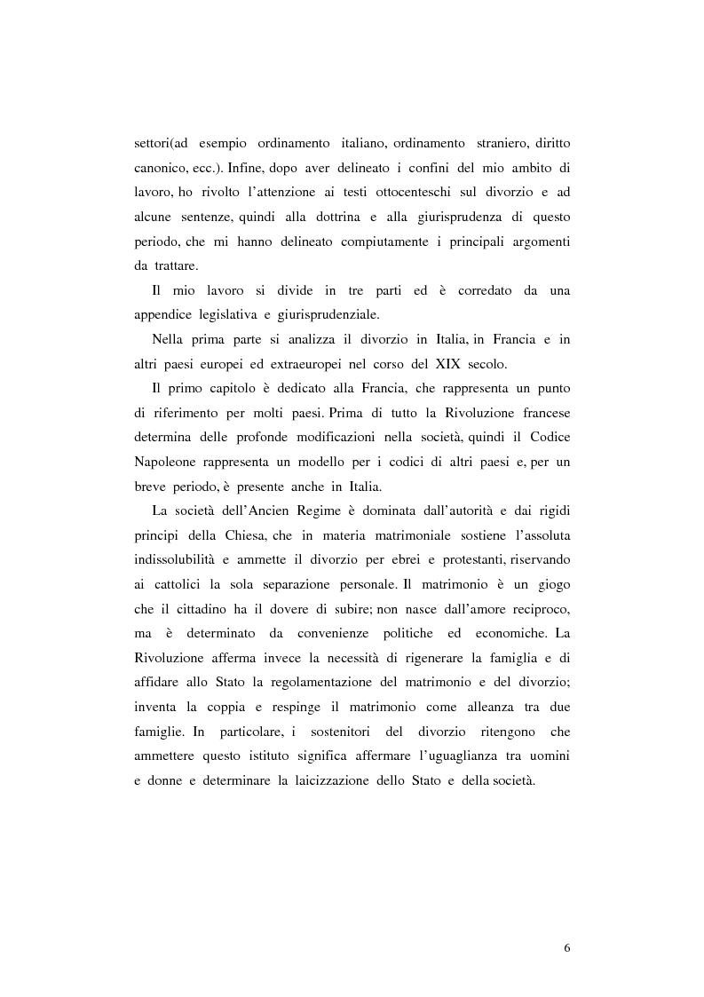 Anteprima della tesi: Il divorzio in Italia. I giuristi, la società e il dibattito politico nel XIX secolo, Pagina 3