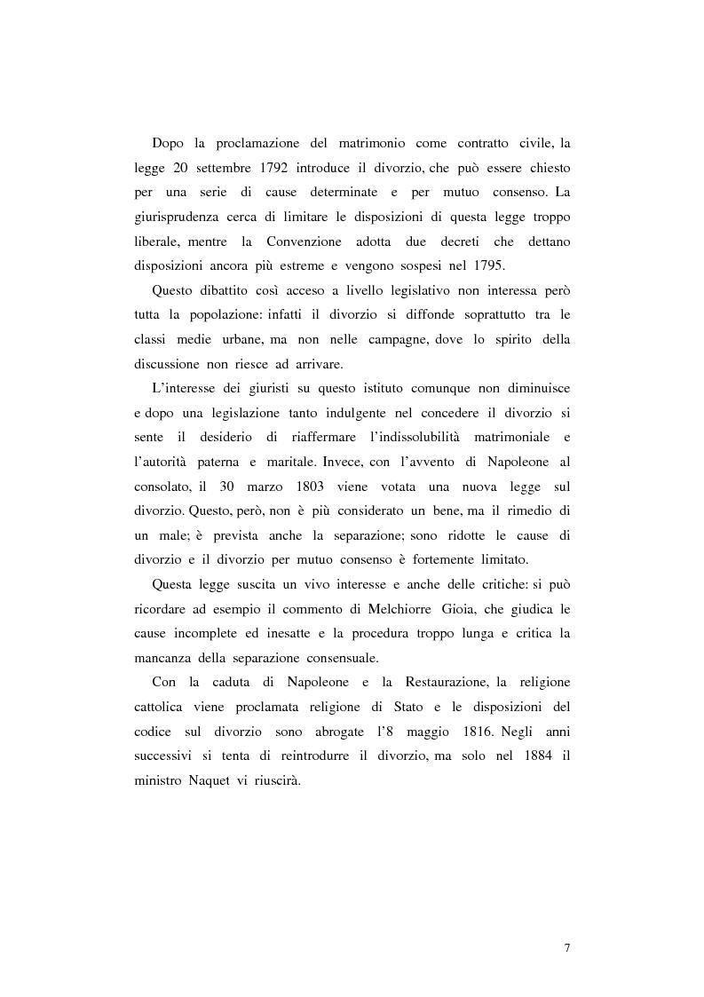 Anteprima della tesi: Il divorzio in Italia. I giuristi, la società e il dibattito politico nel XIX secolo, Pagina 4