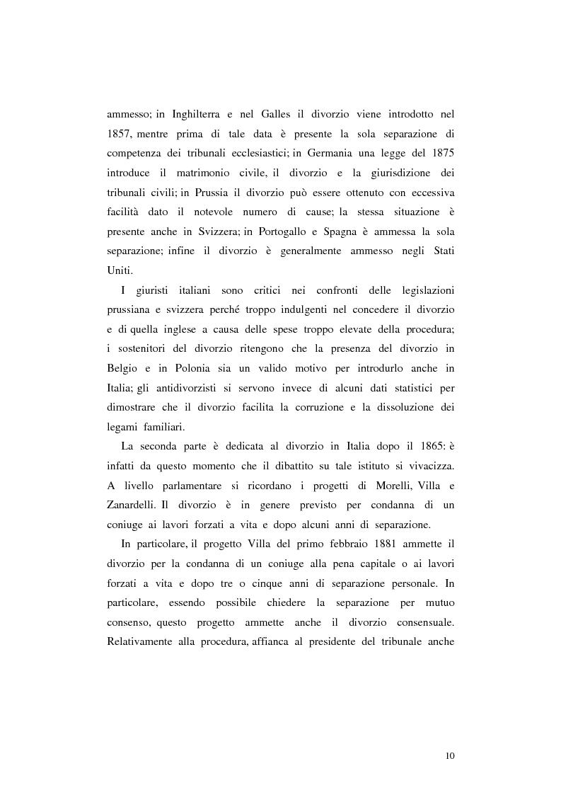 Anteprima della tesi: Il divorzio in Italia. I giuristi, la società e il dibattito politico nel XIX secolo, Pagina 7