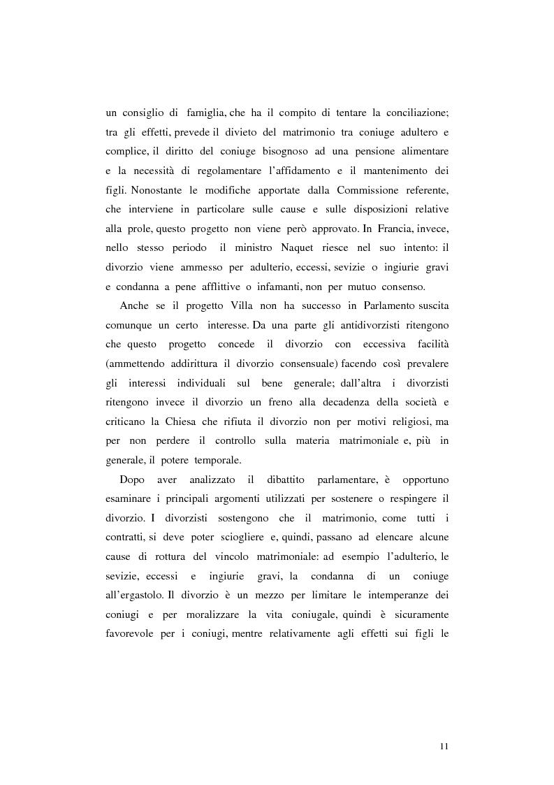 Anteprima della tesi: Il divorzio in Italia. I giuristi, la società e il dibattito politico nel XIX secolo, Pagina 8
