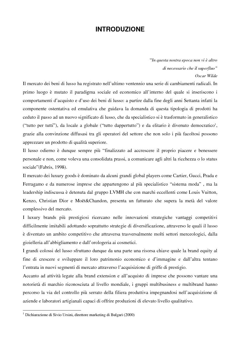 Anteprima della tesi: Crescere e creare valore nel settore del lusso: il caso Rossi Moda, Pagina 1