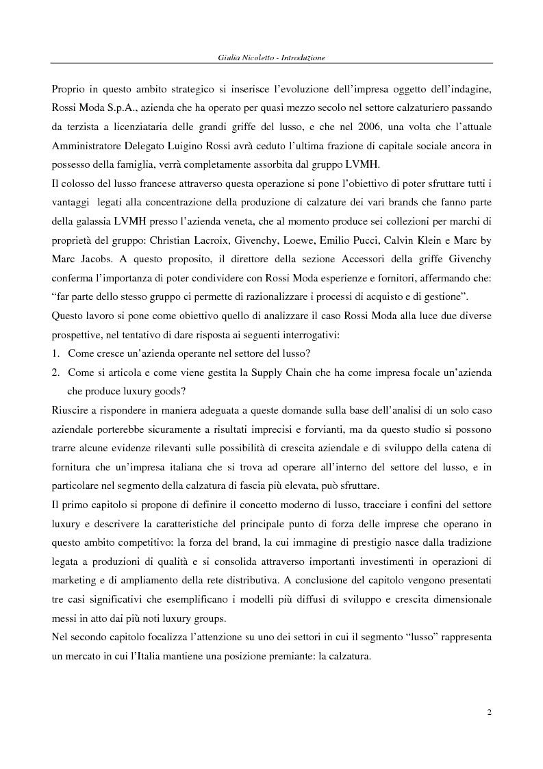 Anteprima della tesi: Crescere e creare valore nel settore del lusso: il caso Rossi Moda, Pagina 2