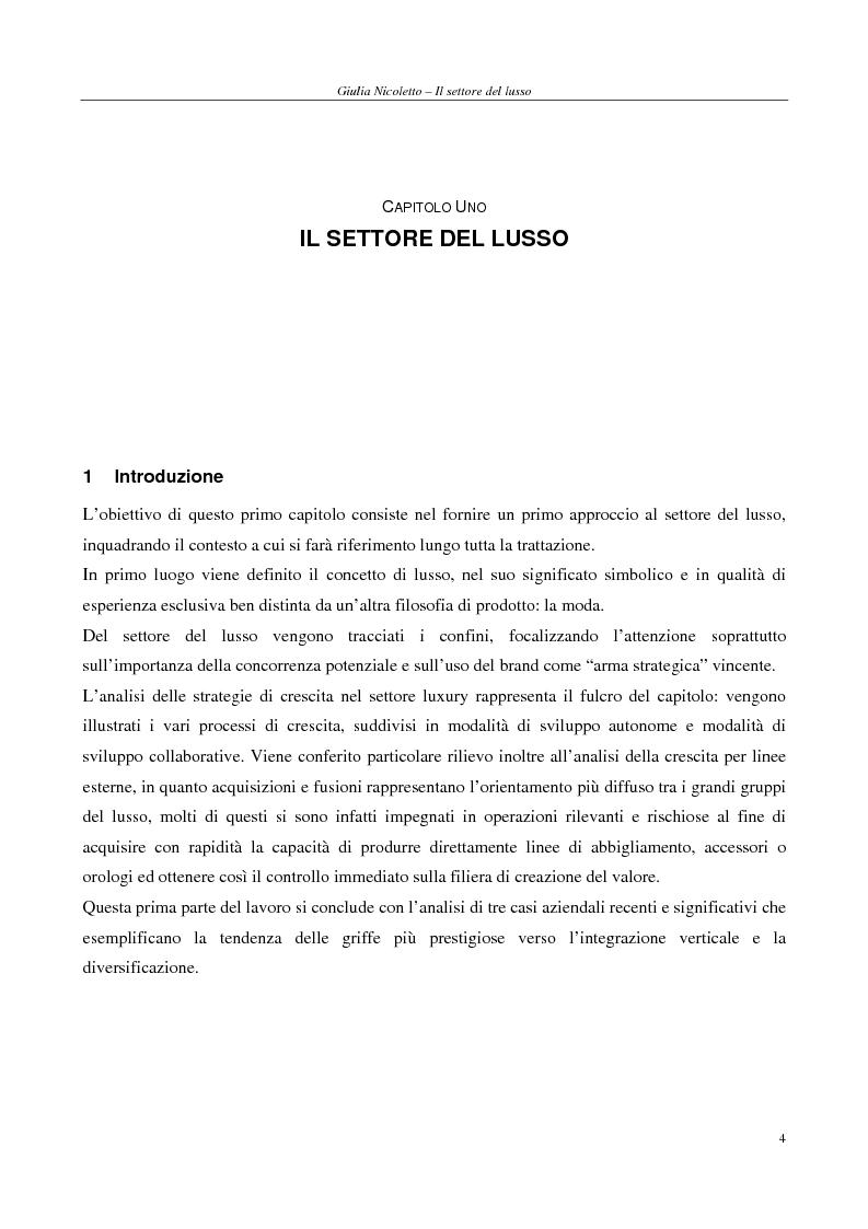Anteprima della tesi: Crescere e creare valore nel settore del lusso: il caso Rossi Moda, Pagina 4
