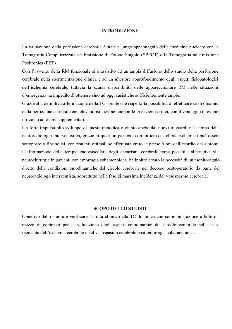Studio della perfusione celebrale con TAC Dinamica: Aspetti tecnici ed applicazioni cliniche - Tesi di Laurea