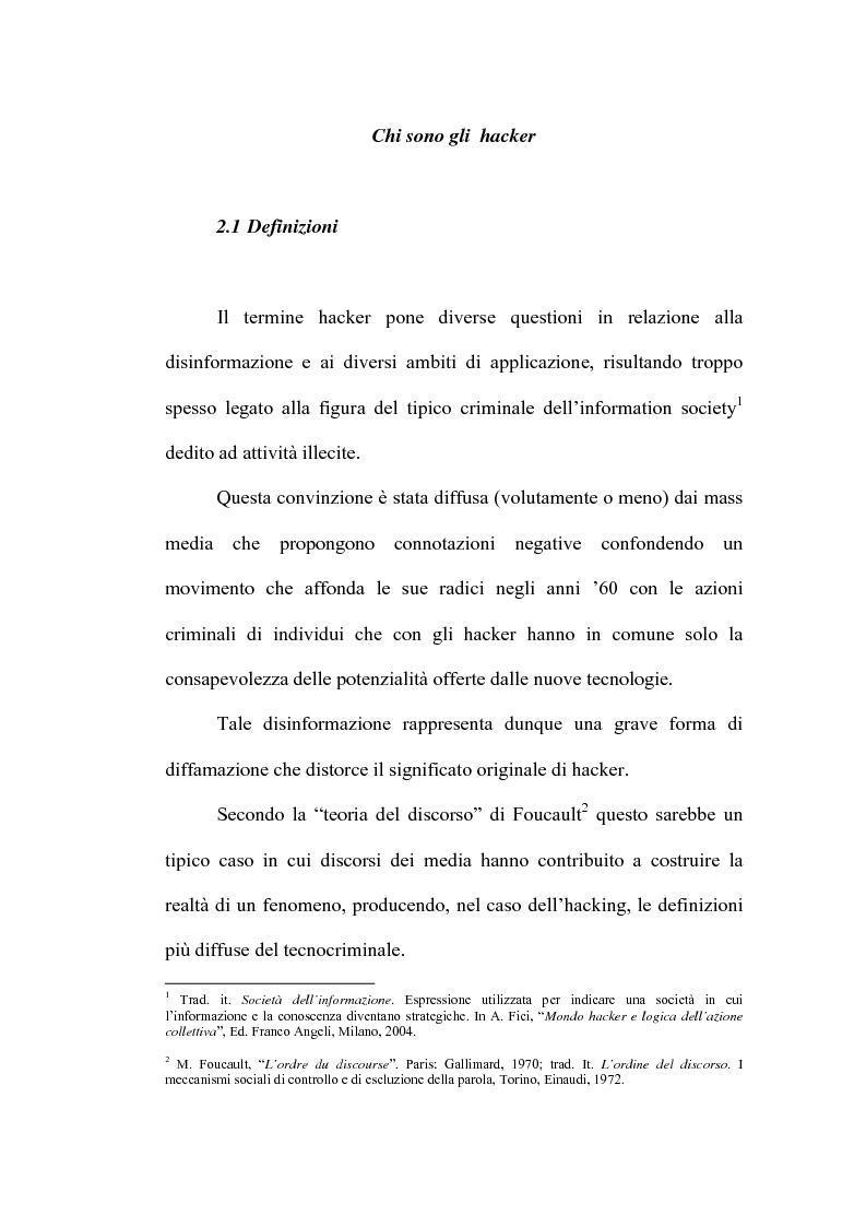 Anteprima della tesi: Le nuove forme di devianza nella società del benessere: il fenomeno dell'hacking, Pagina 1
