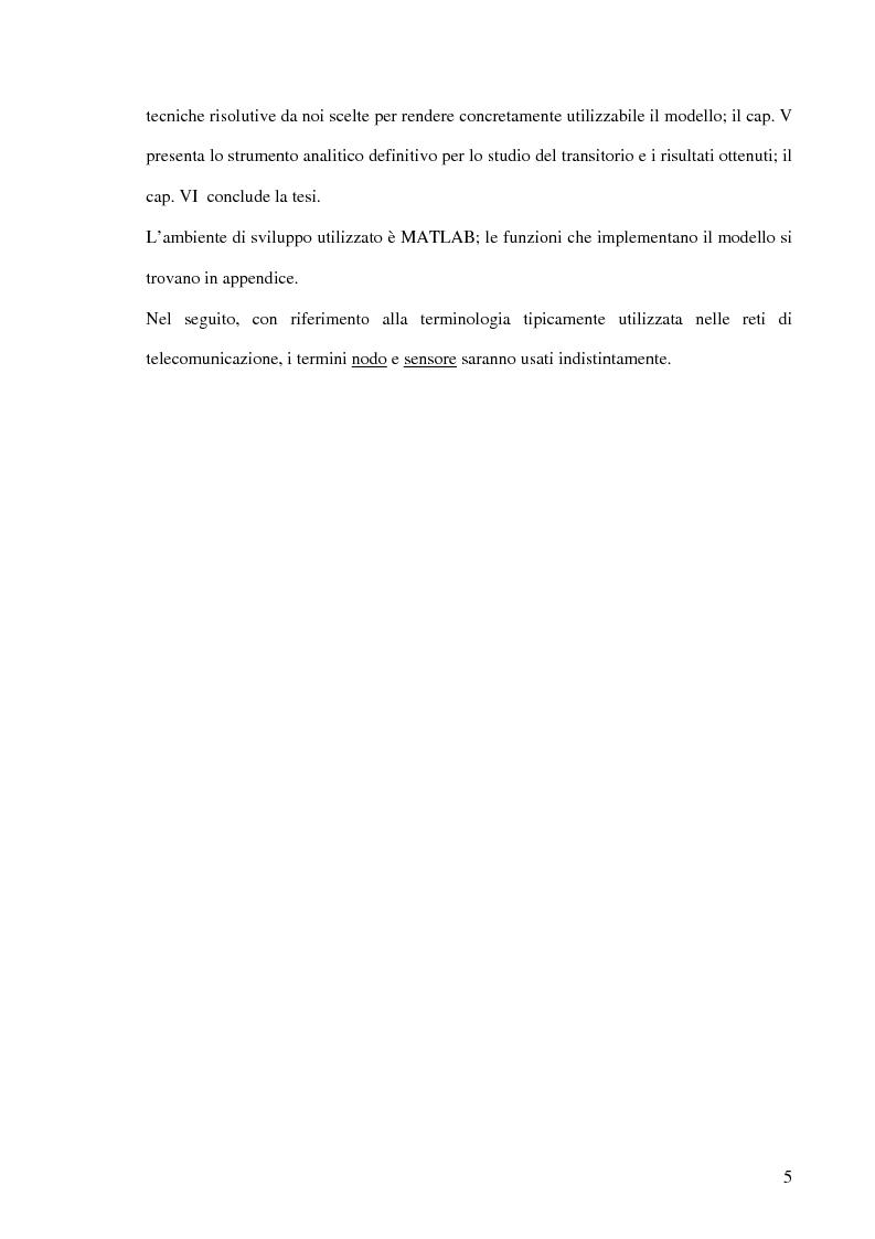 Anteprima della tesi: Un modello markoviano per lo studio dell'evoluzione in transitorio di una rete di sensori, Pagina 5