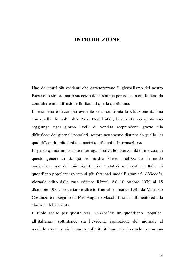 """Anteprima della tesi: L'Occhio, un quotidiano """"popular"""" all'italiana, Pagina 1"""