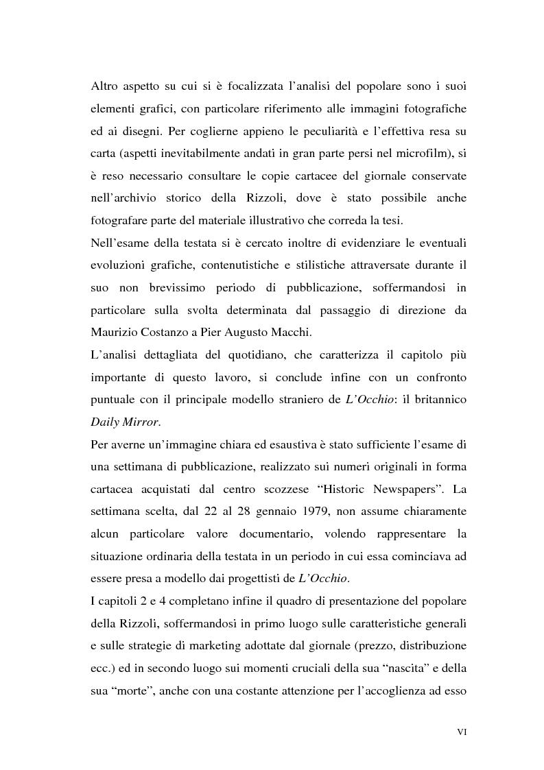 """Anteprima della tesi: L'Occhio, un quotidiano """"popular"""" all'italiana, Pagina 3"""