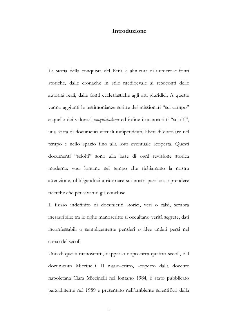 Anteprima della tesi: Nuove fonti storiche del Tahuantinsuyu: il gesuita Blas Valera, Pagina 1