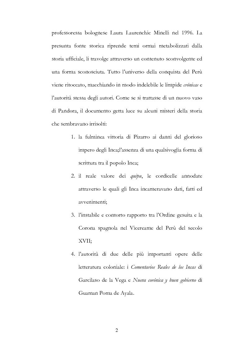Anteprima della tesi: Nuove fonti storiche del Tahuantinsuyu: il gesuita Blas Valera, Pagina 2