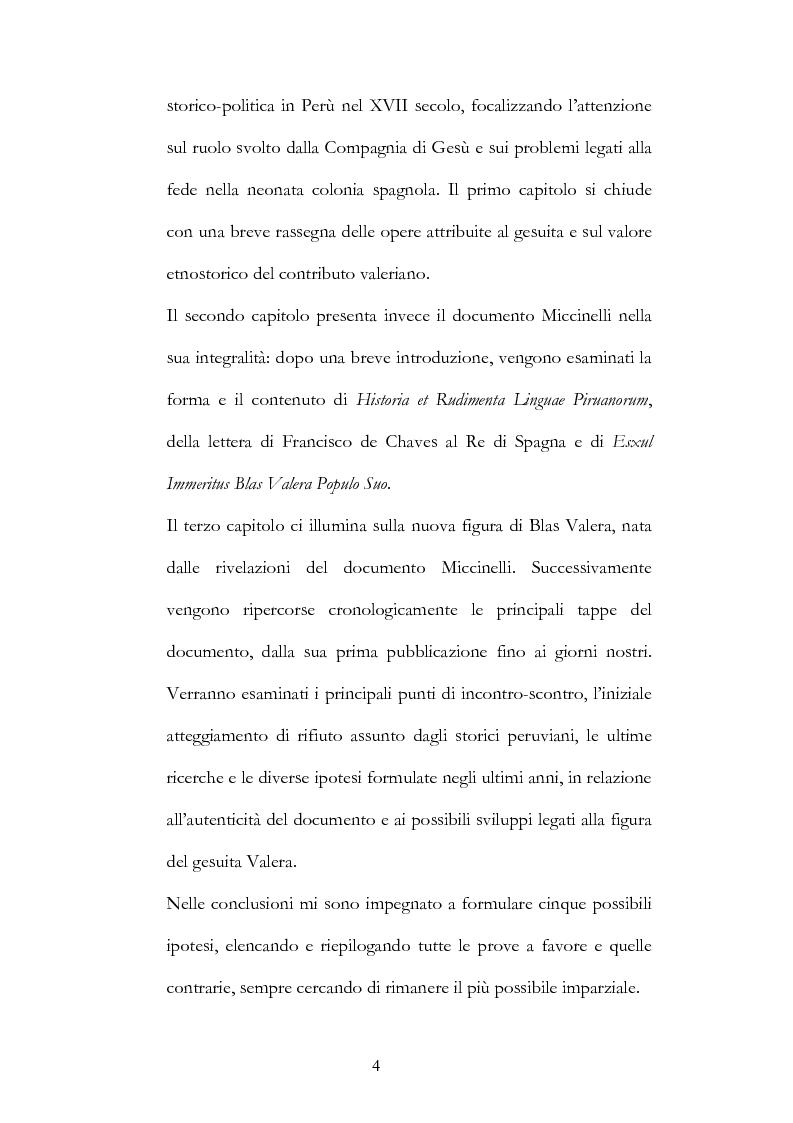 Anteprima della tesi: Nuove fonti storiche del Tahuantinsuyu: il gesuita Blas Valera, Pagina 4