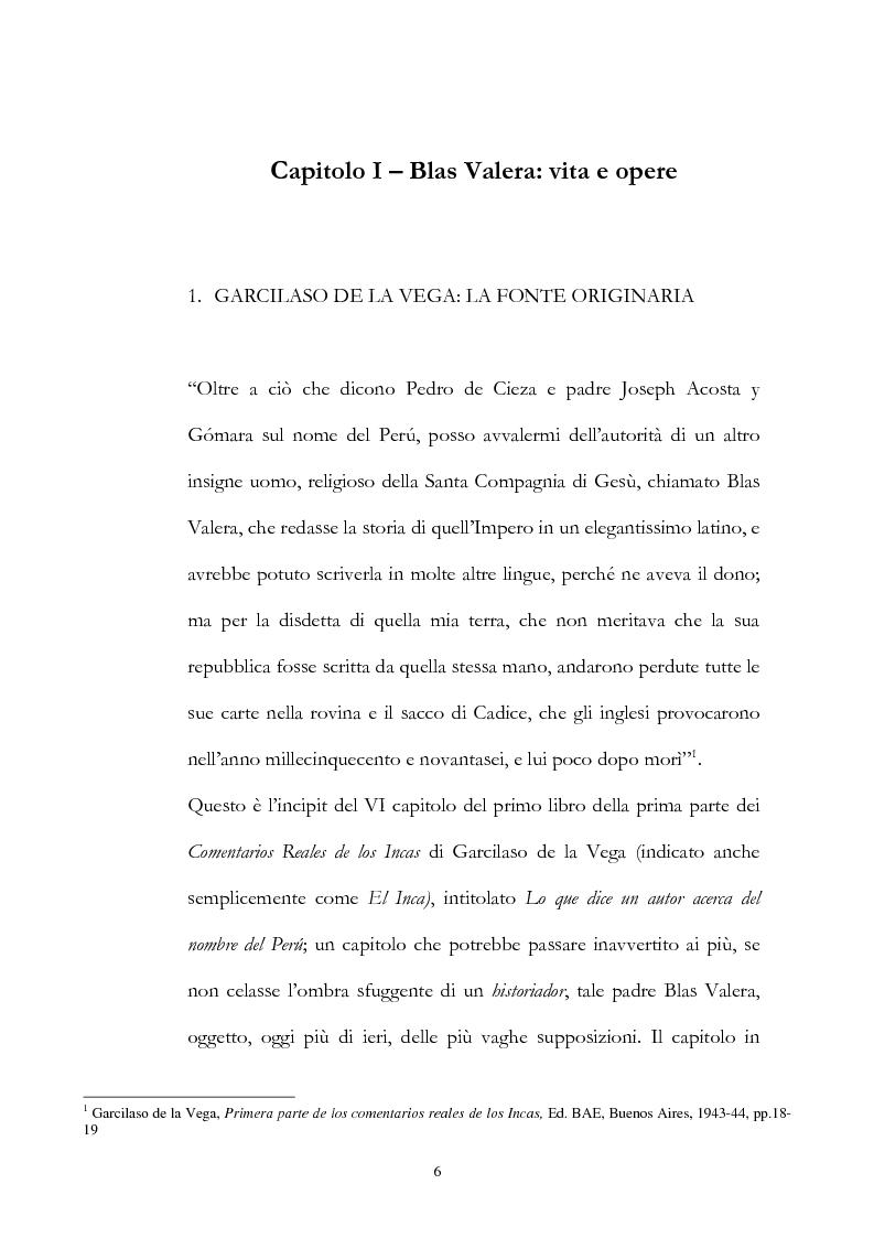 Anteprima della tesi: Nuove fonti storiche del Tahuantinsuyu: il gesuita Blas Valera, Pagina 6