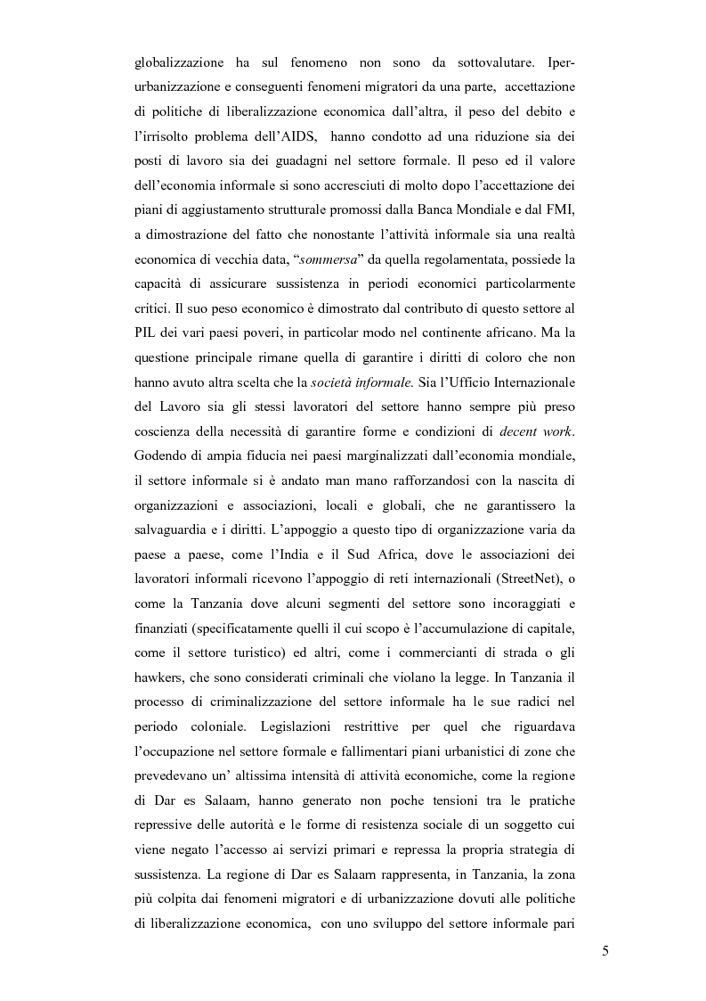 Anteprima della tesi: Informale e resistenza sociale in Tanzania, Pagina 2