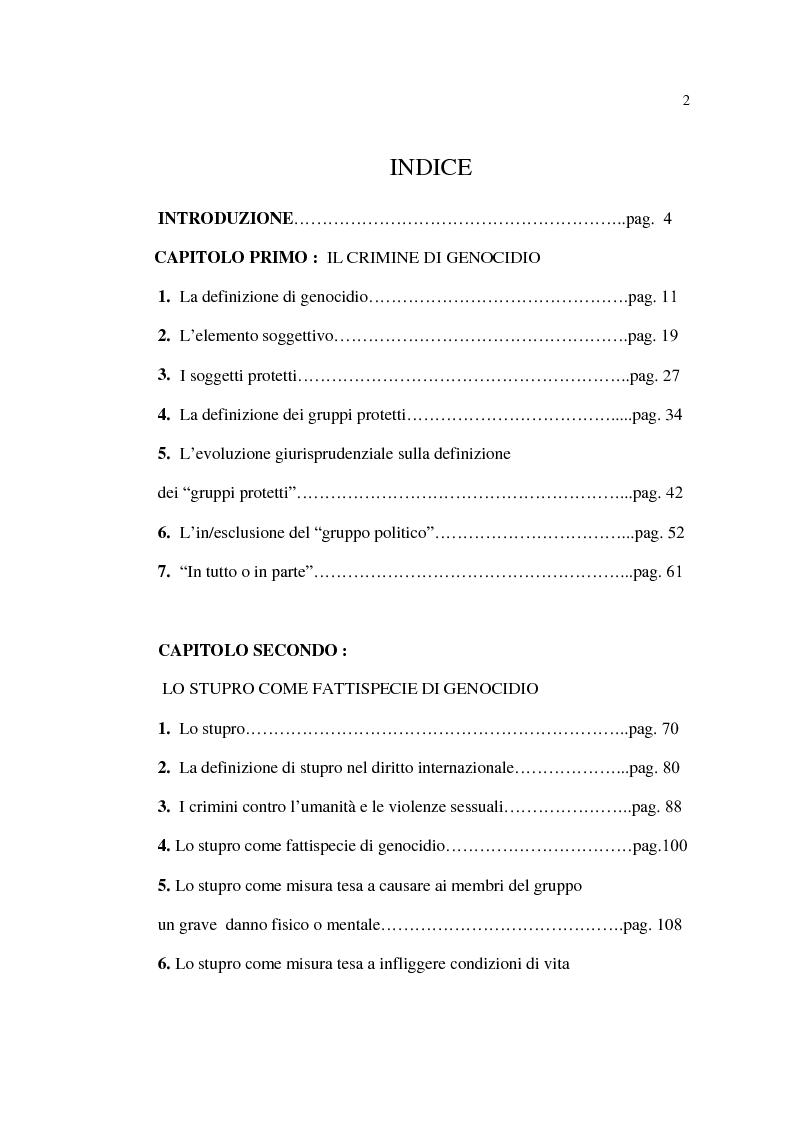 Indice della tesi: Stupro e Genocidio nel Diritto Internazionale, Pagina 1