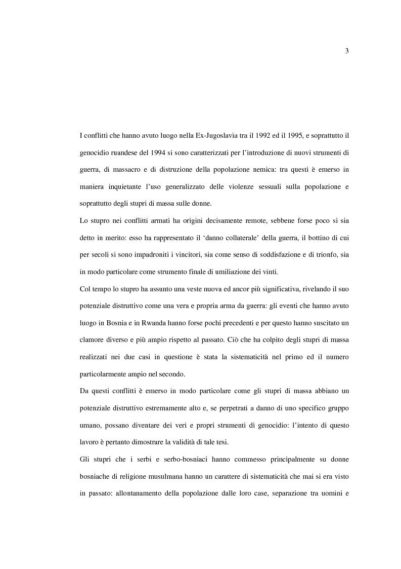 Anteprima della tesi: Stupro e Genocidio nel Diritto Internazionale, Pagina 1