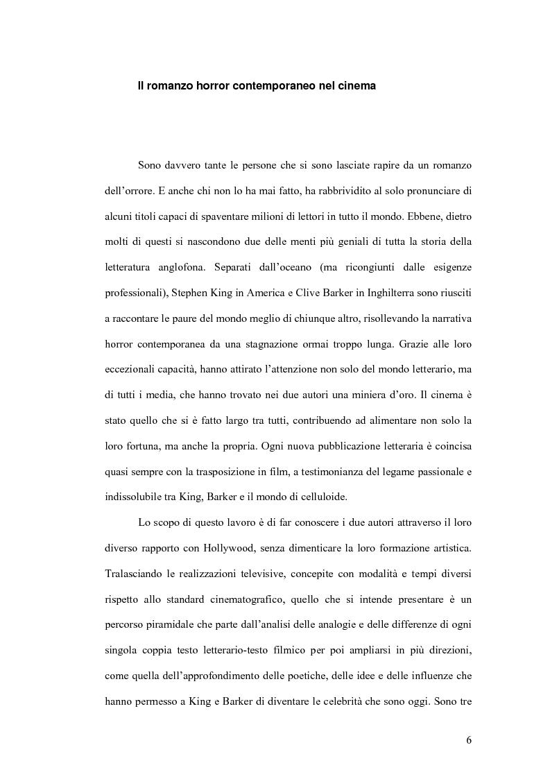 Anteprima della tesi: Stephen King e Clive Barker: due maestri dell'horror tra letteratura e cinema, Pagina 1