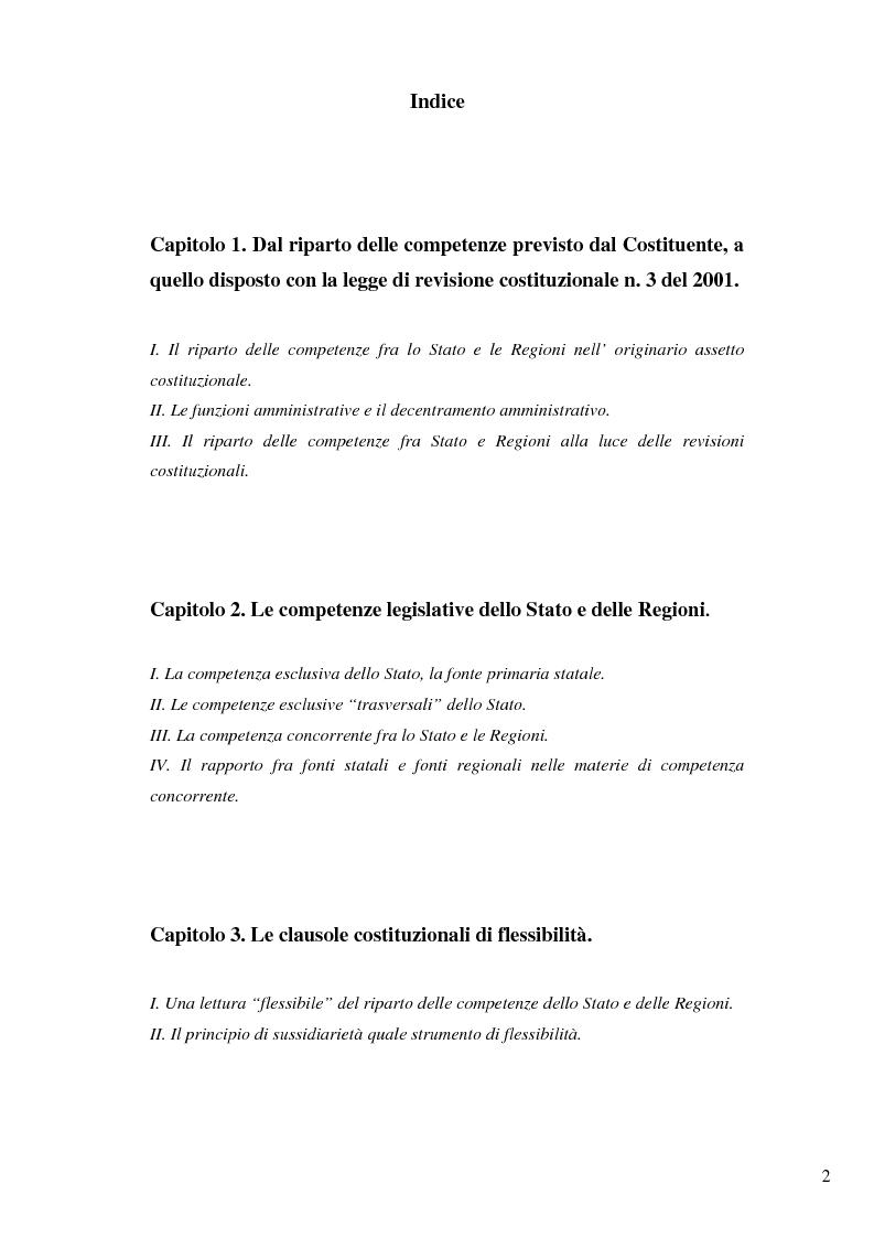 Indice della tesi: Il nuovo riparto delle competenze legislative tra lo Stato e le Regioni e l'interesse nazionale, Pagina 1